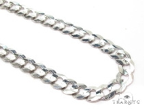 Mens 14k Solid White Gold Cuban/curb Chain 28 Inches 7.2mm 33.47 Grams 47158 Gold
