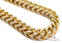 Mens 10k Hollow Yellow Gold Franco Chain 30 Inches 6.8mm  47442 Gold