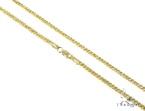Mens 10k Hollow Yellow Gold Franco Chain 22 Inches 2.1mm 7.40 Grams 47657 Gold