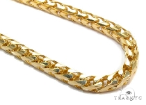 Mens 14k Solid Yellow Gold Franco Chain 34 Inches 7mm  47845 Gold