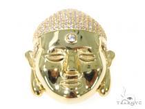 Silver CZ Buddha Head Pendant 49029 Metal