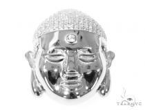 Silver CZ Buddha Head Pendant 49030 Metal