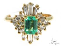 Prong Emerald Diamond Ring 49060 Anniversary/Fashion