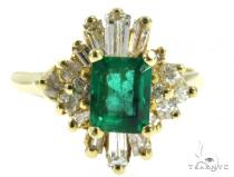 Prong Emerald Diamond Ring 49070 Anniversary/Fashion