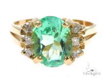 Prong Oval  Emerald Diamond Ring 49073 Anniversary/Fashion