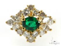 Prong  Emerald Diamond Ring 49074 Anniversary/Fashion