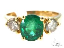 Prong Emerald Diamond Ring 49075 Anniversary/Fashion