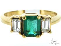 Prong Emerald Diamond Ring 49077 Anniversary/Fashion