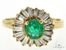 Prong Emerald Diamond Ring 49078 Anniversary/Fashion