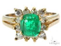 Prong Emerald Diamond Ring 49083 Anniversary/Fashion