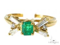 Prong Emerald Diamond Ring 49085 Anniversary/Fashion