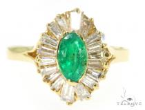 Prong Emerald Diamond Ring 49087 Anniversary/Fashion