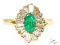 Prong Emerald Diamond Ring 49087 Anniversary/Fashion