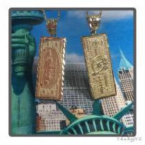 NYC Check Gold Pendant Chain Set 44819 Metal