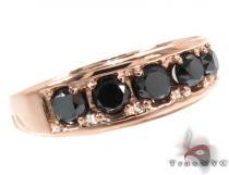 14K Rose Gold Black Diamond Band 28402 メンズ ダイヤモンド リング