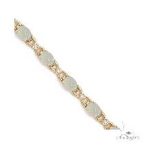 Diamond and Opal Bracelet 14k Yellow Gold ジェムストーン ブレスレット