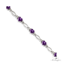 Heart Shaped Amethyst and Diamond Link Bracelet 14k White Gold ジェムストーン ブレスレット