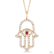 Diamond and Ruby Hamsa Evil Eye Pendant Necklace 14k Rose Gold Stone