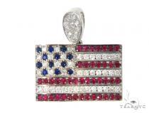 Custom Diamond American Flag Pendant 45582 Metal