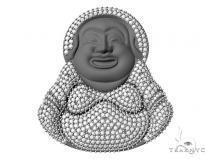 Custom Made Pave Diamond Buddha Pendant 45583 Metal