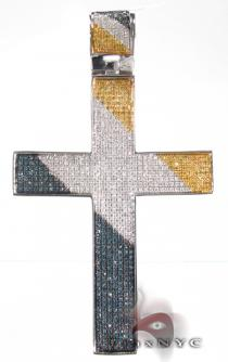 Multi Color Cross Mens Diamond Cross