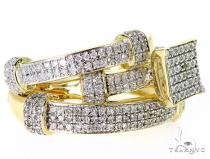 10K YG Prong Diamond Wedding Rings Set 56979 エンゲージメント