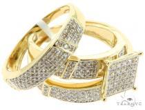 10K YG Prong Diamond Wedding Rings Set 56980 エンゲージメント