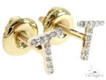 Prong Diamond Initial 'T' Earrings 57143