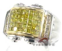 Mens Gold Canary Grill Pinky Ring Stone