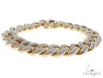 14K Yellow Gold Pave Diamond Cuban Link Bracelet 61578 メンズ ダイヤモンド ブレスレット