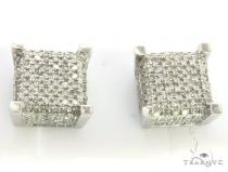 10K White Gold Micro Pave Diamond Stud Earrings. 63433