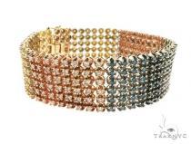 14K Tri Color Gold Prong Diamond Bracelet 63732 メンズ ダイヤモンド ブレスレット