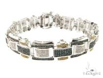 10K White Gold Tri Color Bracelet 63751 メンズ ダイヤモンド ブレスレット