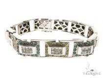 14k White Gold Bracelet 8.5 Inch 17 mm 63752 メンズ ダイヤモンド ブレスレット