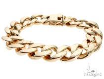 10K Yellow Gold Cuban Link Bracelet 8.5 Inches 12mm 81.25 Grams 63861 ゴールド メンズ ブレスレット