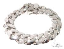 Silver CZ Solid Miami Cuban Link Bracelet 8.75 Inches 16.5mm 137.0 Grams 64082 シルバー ブレスレット
