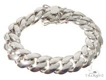 Silver Solid Miami Cuban Link Bracelet 8.75 Inches 17mm 141.0 Grams 64083 シルバー ブレスレット