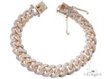 2 Row Pave Diamond Miami Cuban Link Bracelet メンズ ダイヤモンド ブレスレット