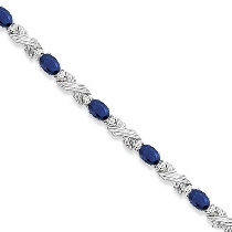 Blue Sapphire and Diamond XOXO Link Bracelet in 14k White Gold ジェムストーン ブレスレット