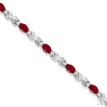 Ruby and Diamond XOXO Link Bracelet in 14k White Gold ジェムストーン ブレスレット