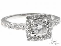 14K White Gold Square Shaped Halo Diamond Cut Ring 64571 ウェディング
