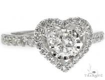 14K White Gold Heart Halo Diamond Ring 64573 ウェディング
