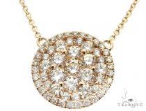 14K Yellow Gold Diamond Cluster Pendant 64785 ダイヤモンドネックレス