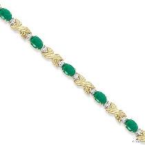 Emerald and Diamond XOXO Link Bracelet in 14k Yellow Gold ジェムストーン ブレスレット