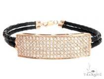 14k Rose Gold Diamond Leather Rope Bracelet 65036 メンズ ダイヤモンド ブレスレット