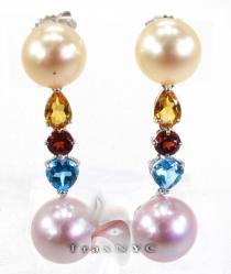 Multi Colored Pearl Earrings パール ダイヤモンドイヤリング 真珠