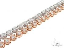 14k White and Pink Gold Double Diamond Bracelt 65109 ダイヤモンド ブレスレット