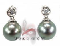Tahitian Pearl Earrings 2 パール ダイヤモンドイヤリング 真珠