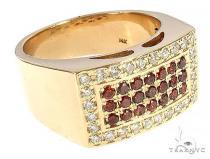 Red Diamond 5 Row Prong Ring メンズ ダイヤモンド リング