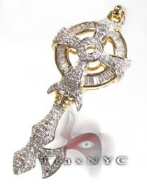 Golden Gothic Cross Diamond Key Pendants